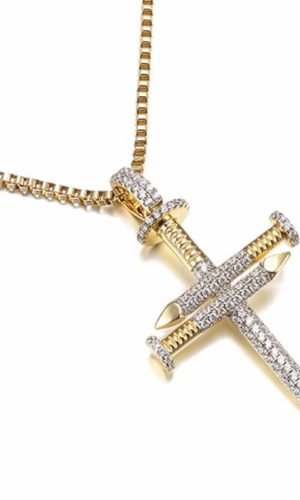 ketting-goud-spijker-kruis-golden-nail-cross-strass-zirconia-necklace-movastyling