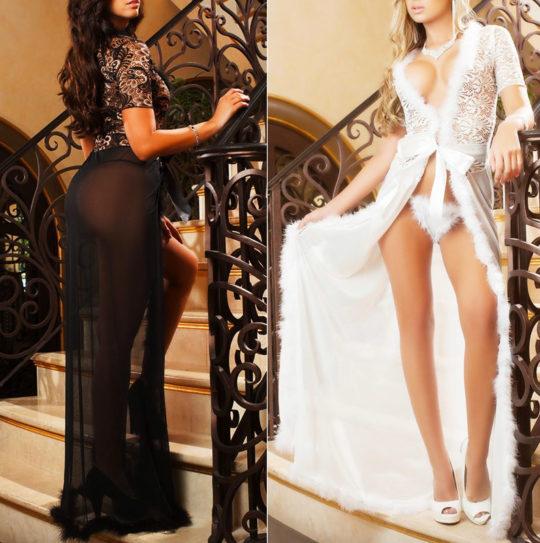 nachtrobe-achterkant-voorkant-kortemouw-zwart-wit-veertjes-long-nightgown-setje-thong-movastyling