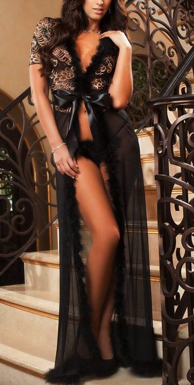 nachtrobe-kortemouw-zwart-veertjes-long-nightgown-setje-thong-movastyling