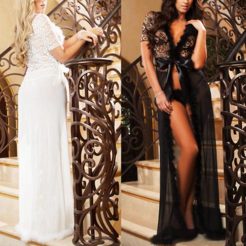 nachtrobe-voorkant-achterkant-kortemouw-wit-zwart-veertjes-long-nightgown-setje-thong-movastyling